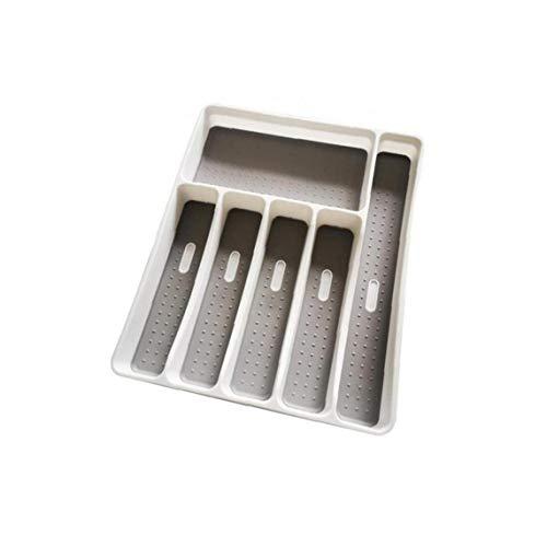 Adore store 6 Bandeja Cubiertos Compartimentos Organizador cajón de la Cocina Cuchara Tenedor Herramienta de separación de plástico Caja de Almacenamiento de la Cocina Vajilla Bandeja Gris