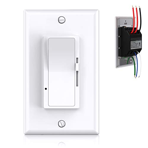 0-10V Dimmer Switch, 3-Way/Single-Pole Low Voltage Dimmer Switch for 0-10V Dimmable LED Panel Lights, CFL, Halogen and Incandescent Bulbs, Wall-Plate Included