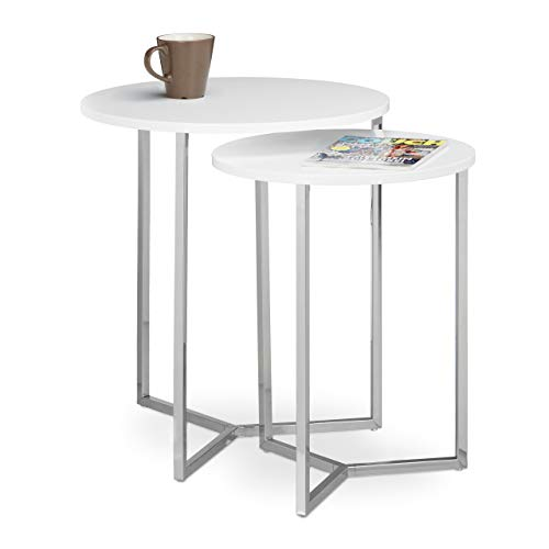 Relaxdays Table console ronde lot de 2 diamètre 50 et 40 cm table d'appoint plateau rond en bois canapé table gigogne pieds en métal, blanc