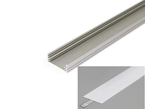 LED Profil 3,2cm breit Aluminium eloxiert für LED Streifen 2m inkl. Abdeckung milchig UV beständig, für LED Bänder bis max. 29,8mm. (Silber, 2m milchig)