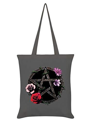 Requiem Collective Tragetasche Floral Pentagram 38 x 42 cm grau