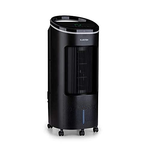 Klarstein IceWind Plus 4-in-1 Luftkühler, 4-in-1: Luftkühler/Ventilator/Luftbefeuchter/Luftreiniger, Luftdurchsatz: 330 m³/h, 49 Watt, NatureWind Function: 4 Geschwindigkeiten / 3 Modi, schwarz