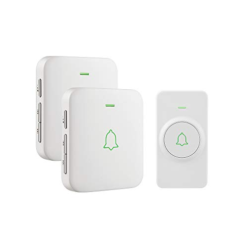 Wireless Door Bell, AVANTEK Mini Waterpoof Doorbell Chime Operating at 1000 Feet with 52 Melodies, 5 Volume Levels & LED Flash