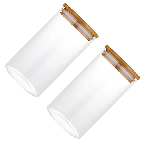 DOITOOL 2 Pzas Tarro de Vidrio con Tapa de Madera Frasco Hermético de Especias Sellador de Alimentos Tarro de Té Vacío Tarro de Café en Grano Tarro de Miel Recipiente de Grano para Pasta