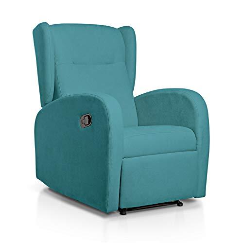 SUENOSZZZ-ESPECIALISTAS DEL DESCANSO Sillón Relax orejero Home reclinable con Pared Cero tapizado en Tela Antimanchas Tela Turquesa