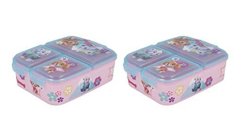 Pack 2 Sandwicheras con 3 Compartimentos para niños - lonchera Infantil - Porta merienda - Fiambrera Decorada (Patrulla canina niñas)