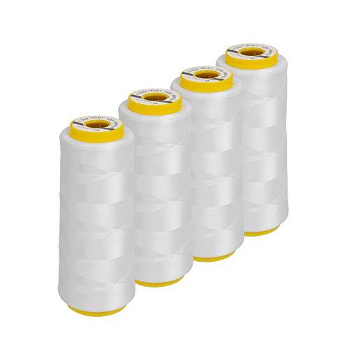 Lialina Hilo para máquina de coser Overlock, 4 conos de 2500 metros, color: blanco, compatible con máquinas de coser, 100% poliéster