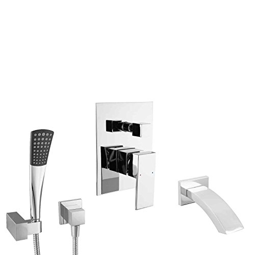 PaulGurkes Unterputz Badewannenset Wannen Set eckig UP Montage Armatur Einhandmischer Einhebel Mischbatterie Schwalleinlauf Wandanschluss Brausehalter Handbrause