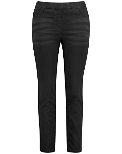 Samoon Damen Slim Fit Jeans Lucy figurbetonte Passform Black 46