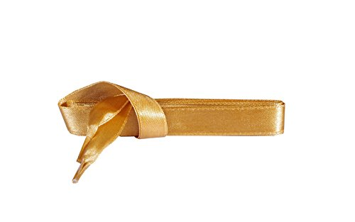 Kaps Satin Schnürsenkel – 1 Paar breite & flache Schuhbänder für z.B. Sneaker & Sportschuhe in Premiumqualität – hochwertige Flachsenkel & Schuhsenkel (120 cm – 6 bis 8 Ösenpaare in Gold)