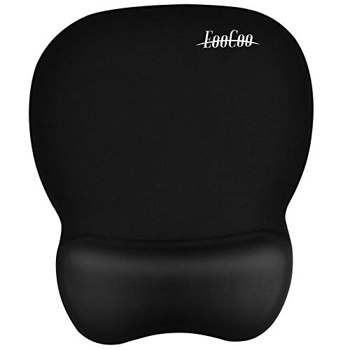 Ergonomic Gaming Mouse Pad with Wrist Support Gel Rest for Laptop at Internet Cafe, Home & Office, Non-Slip Silicone Base Mouse Mat MP02BL - Black