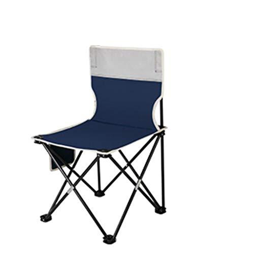 sillas de Camping Ocio al Aire Libre Camping Silla Plegable, casa de Estilo casero Silla Playa Portátil Pesca Barbacoa Silla de boceto sillas Plegables (Color : Blue, tamaño : Large)