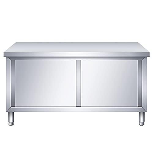 NYDCTHOM Tavolo da Lavoro Piano di Lavoro per Cucina,Gastronomia Tavolo da Lavoro in Acciaio Inox con Ante Scorrevoli,80x60x80cm, Carico Max. 300kg,per Ristorante con Cucina Commerciale