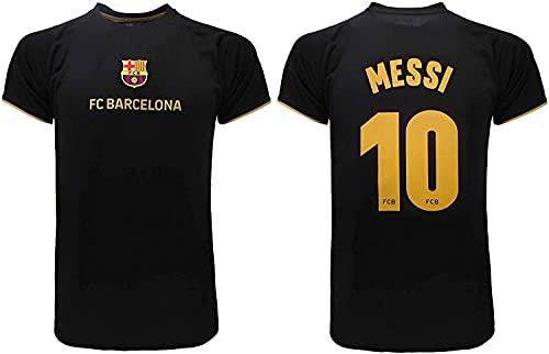 Uniforme da Calcio Camicia da Calcio Ufficiale di Barcellona di FC 2021 - Messi Numero 10 - Camicia da Calcio Ufficiale di FC 2021 T-Shirt commemorativa di Calcio (Color : Nero, Size : 3XL)