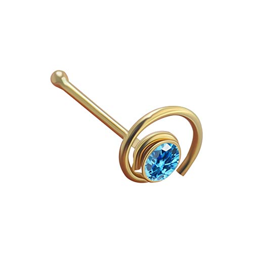 9K Solid Gelb Gold hellblaue Crystal Stein Spule Blume 22 Gauge Nase Knochen Nase Stud Piercingschmuck