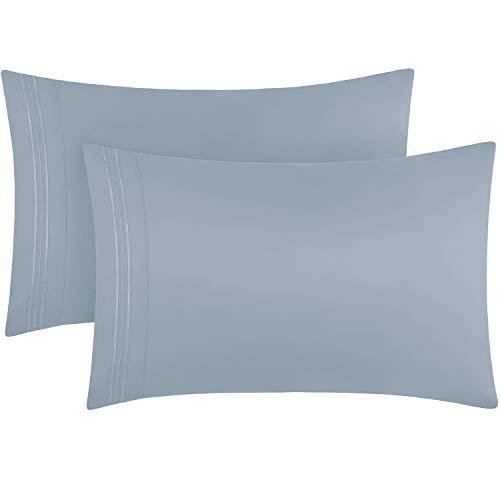 Mellanni Luxury Pillowcase Set  Brushed Microfiber 1800 Bedding  Wrinkle Fade Stain Resistant Set of 2 King Size Blue Hydrangea
