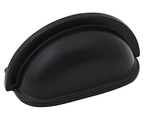 Cosmas 4310FB Flat Black Cabinet Hardware Bin Cup Drawer Handle, 10-Pack