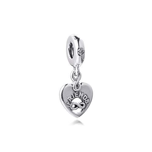 LILANG Pandora 925 Jewelry Bracelet Natural Fits Friends Forever Heart Dangle Charms Cuentas de Metal de Plata esterlina Originales para Hacer Adecuado para Mujeres Regalo de Bricolaje