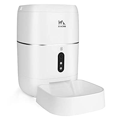 Zacro 6L Automatic Cat Dog Feeder - WiFi Automatic Pet Smart Feeder Food Dispenser, 1080P HD WiFi Pet Camera with Night Vision and 2-Way Audio Communication, Wi-Fi Enabled App for iOS/Android