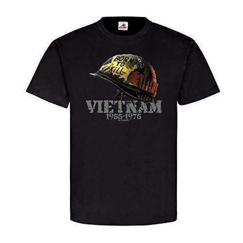 Born to Kill Vietnam Südvietnam Helm Full Metal Jacket Gedenken T Shirt #20647, Größe:XL, Farbe:Schwarz