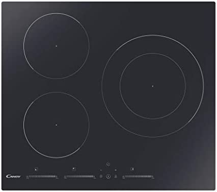 Candy CIDMCS633TT - Encimera inducción, 60cm ancho, 3 zonas de cocción, 9 niveles de potencia, temporizador, función mantener temperatura, negro