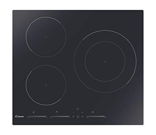 Candy CIDMCS633TT – Plaque à induction, 60 cm de large, 3 zones de cuisson, 9 niveaux de puissance, minuterie, fonction maintien de la température, noir