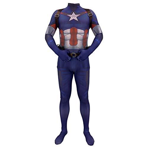 ZYZQ Avengers 4 Capitán América Trajes Superhéroes Unisex Adultos Niños Lycra Spandex Body Jumpsuit Halloween Cosplay Disco de Lujo Props,Blue-Adults~XXXL(190~20cm)