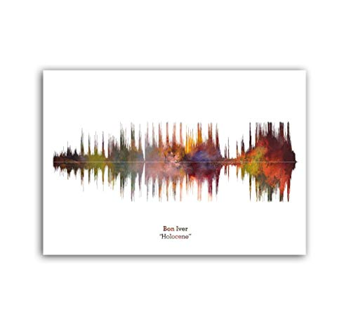 LAB NO 4 Bon Iver Band Holocene Song Soundwave Print Music Lyrics Poster in A1 Size
