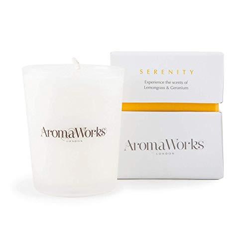 Aromaworks - Serenity Candle - Lemongrass - Neroli and Sweet Geranium Aromas - Comforting Aroma Blends - Uplift - Balance and Focus - Natural - Vegan - Cruelty Free - 2.64 fl oz