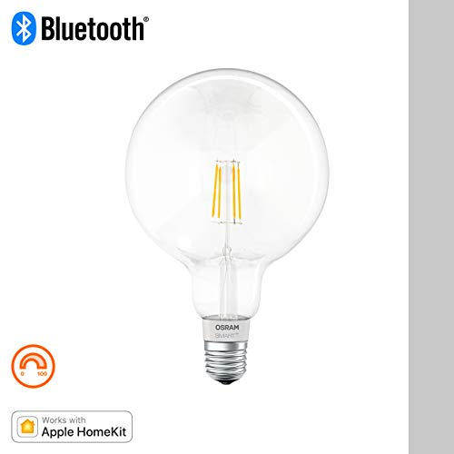 Osram Smart+ Lampadina LED a Filamento Compatibile con Apple HomeKit. Globo, E27, 50 W, Dimmerabile