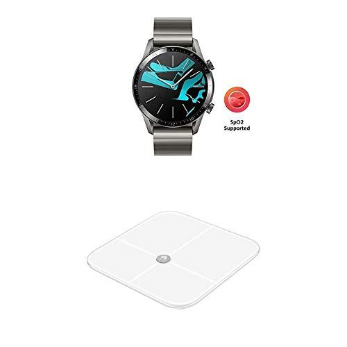 HUAWEI Watch GT 2 Smartwatch (46mm Full-Color-AMOLED, SpO2-Monitoring, Herzfrequenzmessung) Titanium Gray [Exklusiv+5 EUR Amazon Gutschein] + Körperwaage, weiß