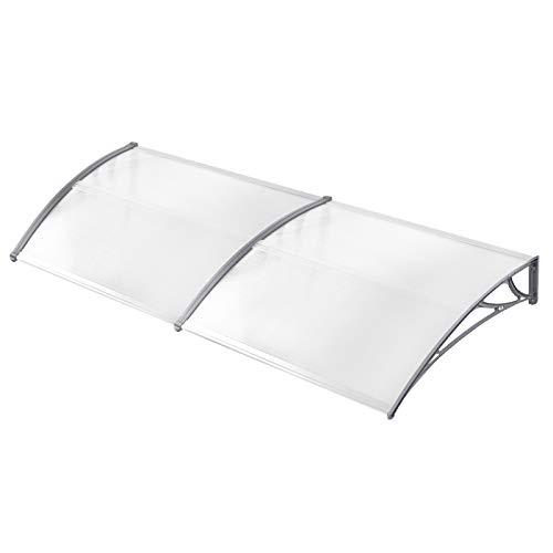HENGMEI 100x200cm Vordach Haustür Überdachung Haustürvordach Pultvordach Türdach Regenschutz, Transparent Kunststoff, Grau