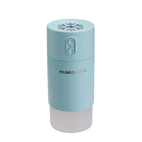 Massage Humidificateur d'air 400 ML, Diffuseur D'huile Essentielle D'arôme USB 3 en 1, sans Bruit 7 Couleurs LED Veilleuse Ventilateur USB avec Fonction D'arrêt Automatique,Bleu