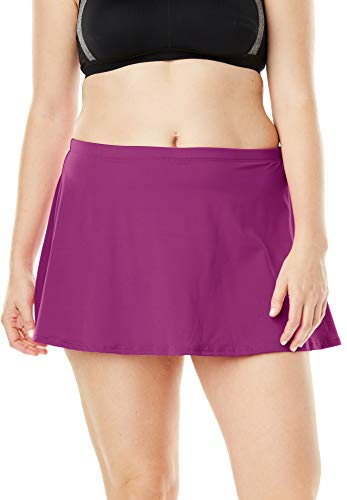 Swimsuits For All Women's Plus Size A-Line Swim Skirt with Built-in Brief Swimsuit Bottoms - 18, Fuchsia Pink