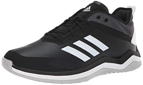 adidas Men's Speed Trainer 4 Baseball Shoe, Black/Crystal White/Carbon, 10.5 M US