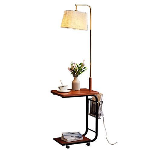 Stehlampen Sofa-Lampe Stehleuchte Mit Eisenmaterial Höhe 162 Cm, Personalisierte LED-Lichtquelle Wohnzimmer Stehleuchte Mit Rädern, Stofflampenschirm Mit Regal, Schlafzimmer Nachttischlampe, 2cm Dicke