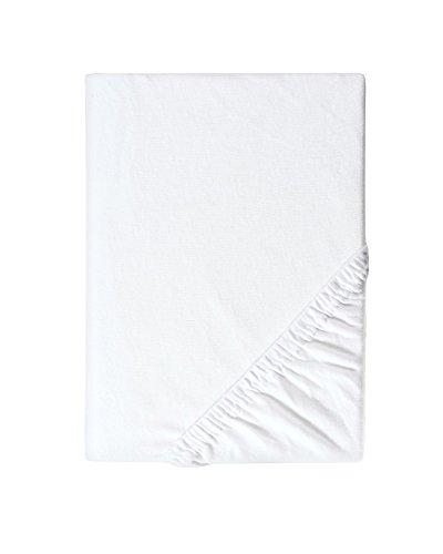 myHomery Spannbettlaken Leon Jersey Made IN EU - Spannbetttuch Basic 100% Baumwolle - Matratzenbezug 28cm Steghöhe - Bettlaken mit Gummi-Band - Betttuch Weiß | 180x200 bis 200x200 cm 145g/m²
