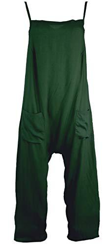 Guru-Shop Sommerliche Latzhose, Ethno Style Boho Einteiler, Overall, Damen, Olivgrün, Synthetisch, Size:S (36), Lange Hosen Alternative Bekleidung