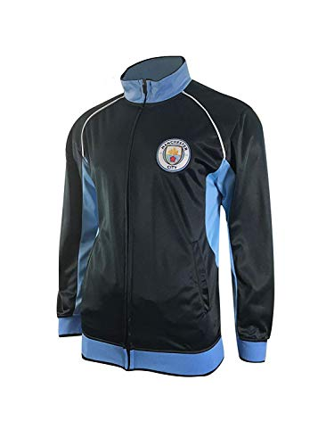 Manchester City Track Jacket Youth Boys Zip Front Soccer Football Official Merchandise (YS, Navy Item# K_BB1D-02)