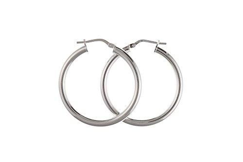 .925 Sterling zilveren creool effen zwaar gewicht 26mm oorbellen paar BP0101