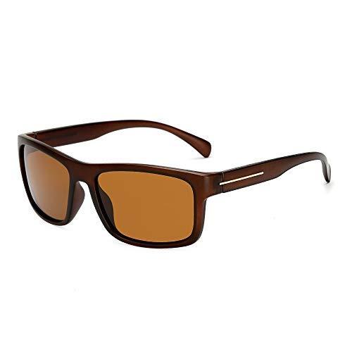 HONYGE サングラス 男性と女性の偏光UV400保護軽量フレームのサングラスサングラスファッションメガネクライミング野球バイク用スポーツサングラス(色:Eブルー、サイズ:無料) 超抗衝撃 超軽量 (Color : Brown)