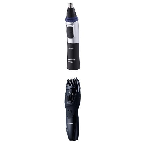 Panasonic ER-GN30 Nose, Ear and Facial Hair Trimmer (Wet/Dry with Vortex Cleaning System), Black + ER-GB42 Wet and Dry Beard Trimmer (20 x Cutting Lengths)