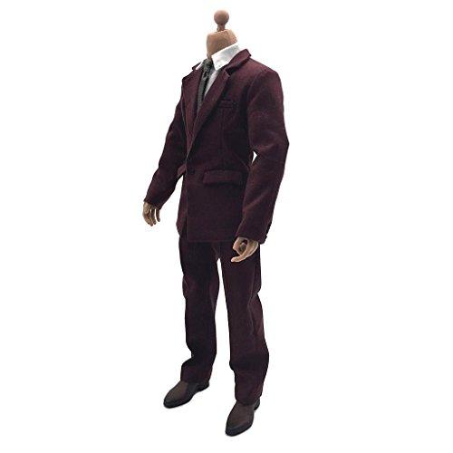Conjunto Completo de Terno Masculino Vermelho Escuro 1/6 para Corpos Masculinos de 12 Polegadas, Etc.