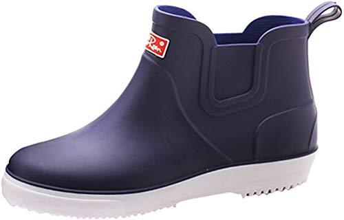 Xinwcang Herren Regenstiefel Wasserdicht Atmungsaktiv PCV Gummistiefel Kurzschaft Regen Boots Blau Asia 39