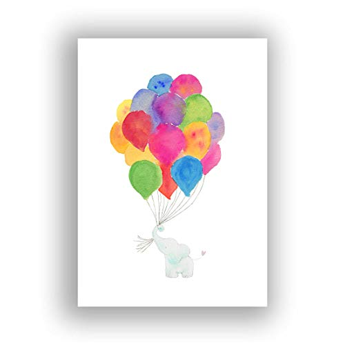 Elephant Nursery Wall Art, A4 Nursery Watercolour Paintings Print, Rainbow Nursery Decor...