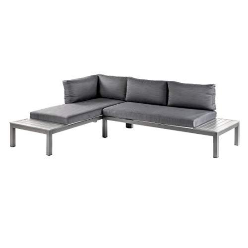 OUTLIV. Morsum, modulare Gartenlounge, Loungegruppe 3-teilig aus Aluminium mit Polstern in Grau, Loungemöbel - 3
