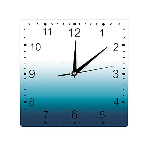 Pealrich Reloj de pared cuadrado con estampado de madera vintage de 12 pulgadas, reloj de madera de granja, decoración de pared, azul turquesa, azul turquesa azul azul degradado color azul