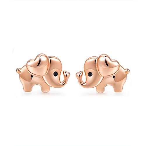 Rose Gold Elephant Earrings 925 Sterling Silver-Hypoallergenic Stud Earrings Kids Cute Elephants Jewellery Mothers Day Birthday Gifts for Girls,Women
