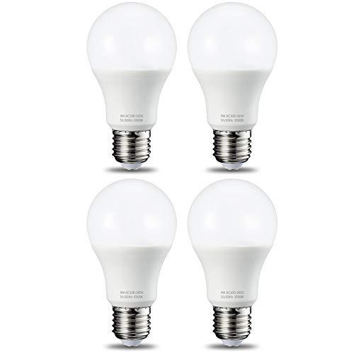 Lampadina LED E27(4 Pezzi),9W(equivalenti a 75W) Luce Bianca Fredda 6500K 900 Lumen,Non-Dimmerabile