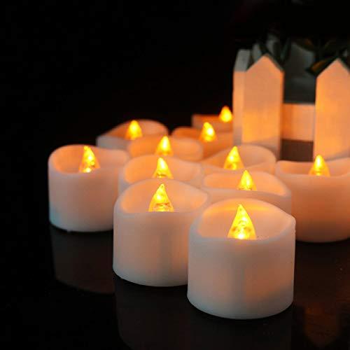 WWK Velas De Luces De Té con Pilas, Velas LED De Larga Duración con Temporizador, para Decoración del Hogar Y Celebración De Temporada, Paquete De 12, Luz Amarilla Dorada, Blanco,Yellow Flash